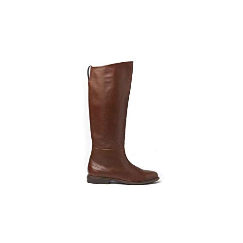 VIC MATIE' - Cognac-Coloured Stove Pipe Boots with Leather Sole - 1T6776DT06CSSB433
