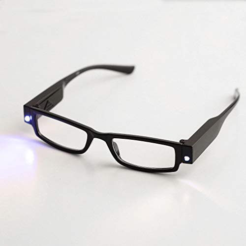 LED Reading Glasses - Dual LED Lighted Full Frame Reading Glasses Eyeglass Spectacle Diopter Magnifier Light Up Presbyopic Glasses Reading Glasses with Batteries (Black, Strength:+1.00) - Happy Hours