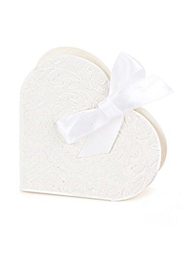 Confezione da 50 pezzi, con cuore e fiocco, regalo o decorazione per feste o matrimoni, colore bianco