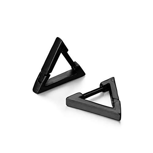 BlackAmazement, set di 2 orecchini a cerchio in acciaio inox, triangoli, in argento, oro, nero, da uomo e da donna e Acciaio inossidabile, colore: Nero