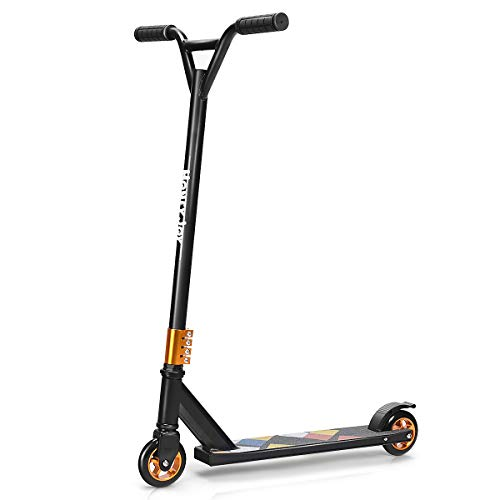 DREAMADE Stunt Scooter aus Alu, Kick-Scooter Tretroller bis zu 100 kg Belastbar, Funscooter City Scooter Roller Freestyle, Trick Scooter Stunt Roller für Kinder und Erwachsene (Schwarz)