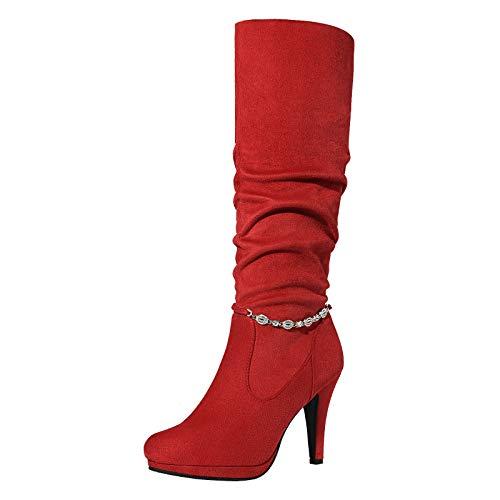 DREAM PAIRS Women's Red Platform High Heel Knee High Boots Size 7.5 M US Sarah-mid