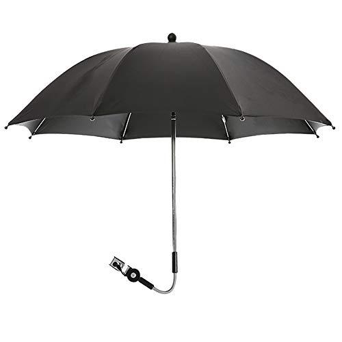 QqHAO Sombrilla giratoria de 360 Grados para cochecitos y sillas de Paseo Paraguas Protección Solar/Protección contra la Lluvia/Función Anti-UV 50+,Negro