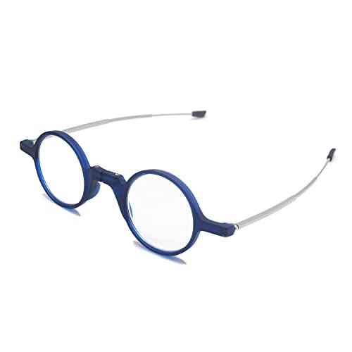 Henghao 老眼鏡 ブルーライトカット 丸型コンパクト折りたたみメガネ おしゃれ リーディンググラス tr90フレーム シニアグラス H6032 (ブルー, +3.00)