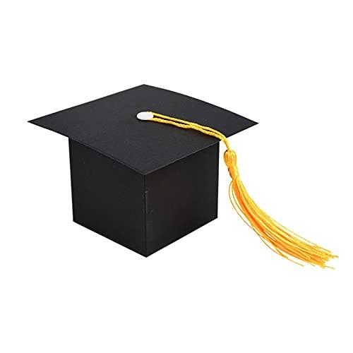 MAUAP Doctor Hat Cake Candy Regalo de Regalo Caja de Embalaje Handdmade para la graduación Party Decoration Supplies Felicitaciones Regalo (Color : Black, Gift Box Size : 10Pcs)