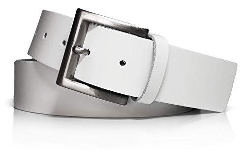 almela - Cinturón Hombre y Mujer - Piel legitima - 4 cm ancho - Vaqueros, Vestir, Sport, Jeans, Casual, Shorts - 40 mm (Blanco, 120)
