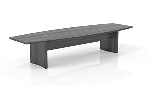 "Mayline 12' Boat Conference Table Overall Dimensions: 144""W X 48""D X 291/2""H 1 5/8"" Thick Work Surface - Gray Steel"