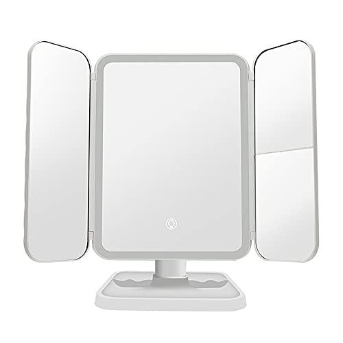 QWESHTU Specchio Cosmetico A LED Dimmerabile, Specchio A Tre Ante con Ingrandimento 2X/3X Specchio per Il Trucco con Luce Specchio Girevole A 180 ° per Specchiera da Bagno