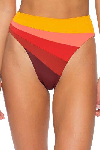 ISABELLA ROSE Women's Bondi Color Block Banded High Waist Bikini Bottom Sunrise M
