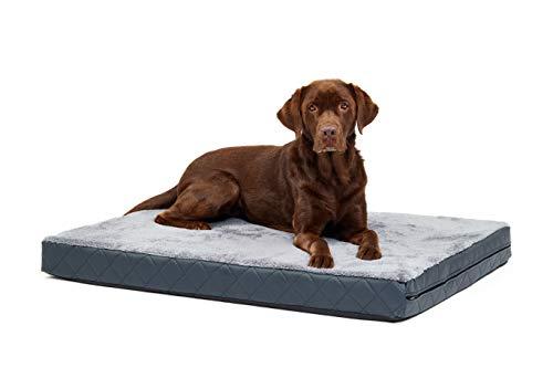 Woofery - Hundebett Hundematte Olaf - orthopädisch L - 100 x 70 cm Schwarz-Dunkelgrau