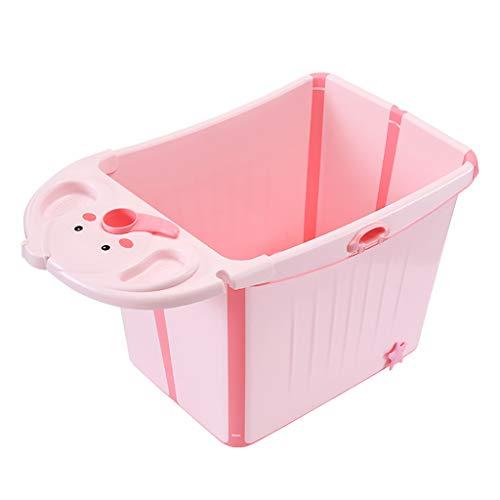 NYJS opvouwbaar bad, draagbaar bad, kinderbad blauw, kinderzwembad roze, luxe glijbaan, outdoor kinderopklapbad, 97 * 49 * 57cm