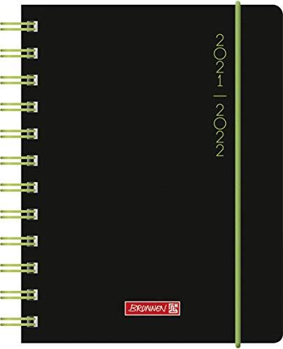 """BRUNNEN 1071755122 Schülerkalender 2021/2022 """"Plain Black"""" 1 Seite = 1 Tag, Sa. + So. auf einer Seite, Blattgröße 12 x 16 cm, A6, PP-Einband"""