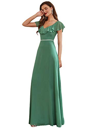 Ever-Pretty Vestido de Noche Largo para Mujer Escote en V Manga Volantes A-línea Corte Imperio Gasa Verde Salvia 36