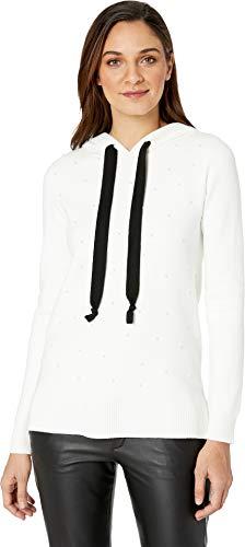 kensie Women's Viscose Blend Hooded Pearl Sweater, Ivory Cloud, XL