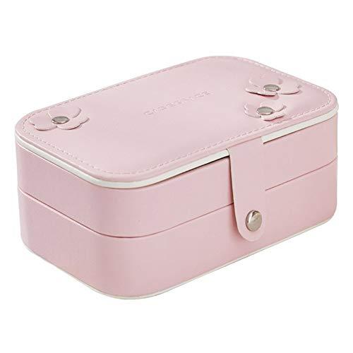 Organizador de maquillaje rectangular de 2 capas para mujer, organizador de almacenamiento para niñas, aretes de viaje, anillo, collar y cajas de regalo (color rosa, tamaño: 14,7 cm x 9,6 cm x 6 cm)