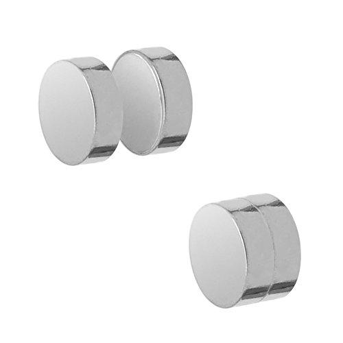 SoulCats Orecchini Fakeplugs magnetici neri o argento a 6, 8, 10 o 12 mm