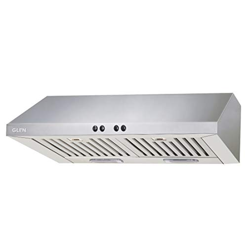 Glen 60cm 1000 m3/h Straight Line Chimney (6002 DX, SS Baffle Filters, Push Button Control, Silver)