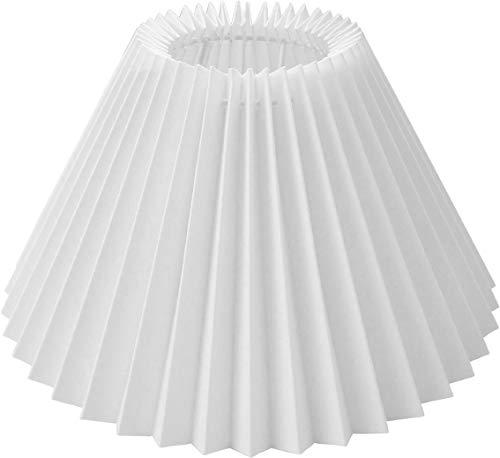 Tisch-Lampenschirm plissee *rund* *weiss* Du=25cm/Do=9,5cm/Hschräg=16cm Haltung E27 unten