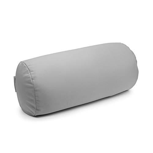 """Squishy Deluxe Tube Microbead Bolster Pillow with Stay-Cool Fill & Silky Removable Cover, Odorless & Flexible, Head, Neck & Back Support for Home & Away, Carrying Case, 13 x 6"""", Grey"""