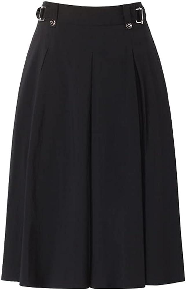 ATHX Women High Waist Solid A Line Pleated Midi Skirt