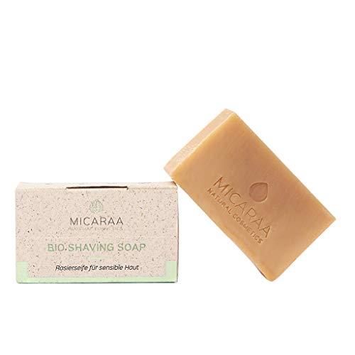 MICARAA Bio Rasierseife, gegen Rasurbrand und eingewachsene Haare, verringert Hautirritationen nach der Rasur, Bio Sheabutter und Babassuöl, Naturkosmetik aus Deutschland