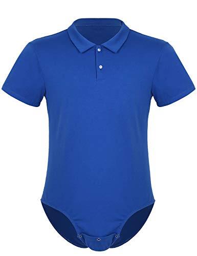 iixpin Body Camisa Mameluco Hombre Mono Verano Manga Corta Pijama de Algodón Lencería Erótica Entrepierna Abierta Ropa Interior Sexy Bodysuit Leotard Azul Large