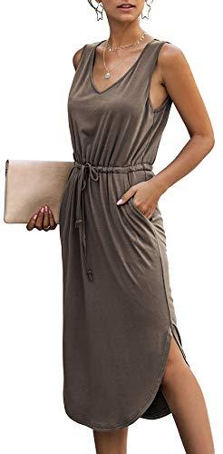 Longwu Mujer Cuello en V sin Mangas sin Mangas con cordón Lateral con Cintura Dividida Vestido de Chaleco a Media Pierna con Bolsillo Café-L