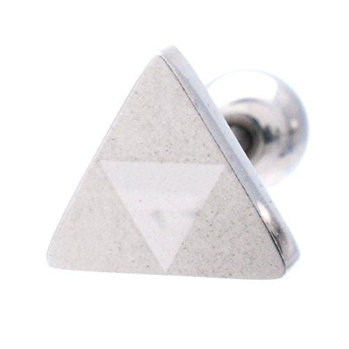(スリーナイン) ボディピアス 18G 16G バイカラー 三角 耳たぶ 軟骨ピアス TPB012 (シルバー×Sゴールド 16G)