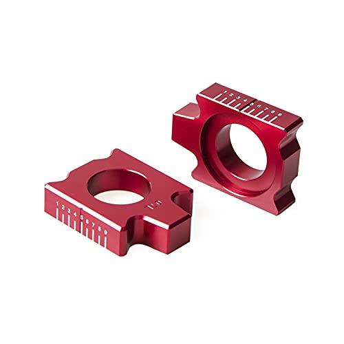 wjyfexble Zestaw do tylnej osi Kit łańcuch regulator dla YZ125 YZ250 YZ250F YZ450F YZ125X YZ250FX YZ450FX WR250F WR450F WR250R WR250X YZ250X 2019 (Color : Red)