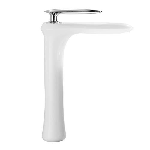 JRUIA Elegant Hoch Weiss Waschtischarmatur Bad Aufsatz-Waschbecken Wasserhahn Einhebelmischer Mischbatterie Hoher Auslauf Armatur f.Badezimmer aus Messing