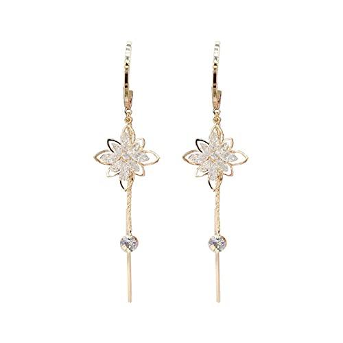 DHDHWL Pendientes Pendientes Pendientes de moda circón flores susu pendientes de plata 925 aguja larga temperamento pendientes femeninos