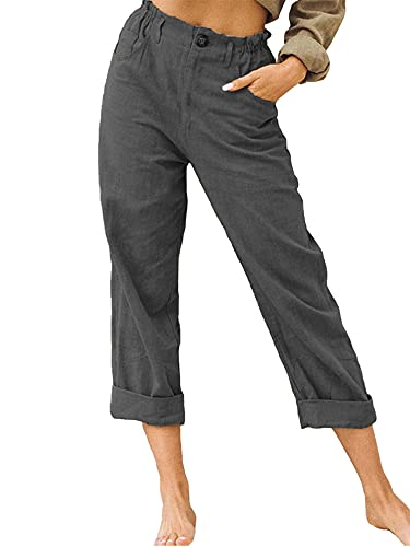 Women Solid Color Straight Trousers Slim Fit High Waist Long Pants with Pockets for Spring Autumn Streetwear (Dark Grey, X-Large)