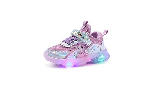Naikly Children Dibujos animados LED LED Luminoso Deporte Princesa Impresión Zapatillas de deporte Niños Bebé Niños Niños Casual Correr Zapatos Slip en Zapatillas de deporte Snowdler Soft Bottom AND-S