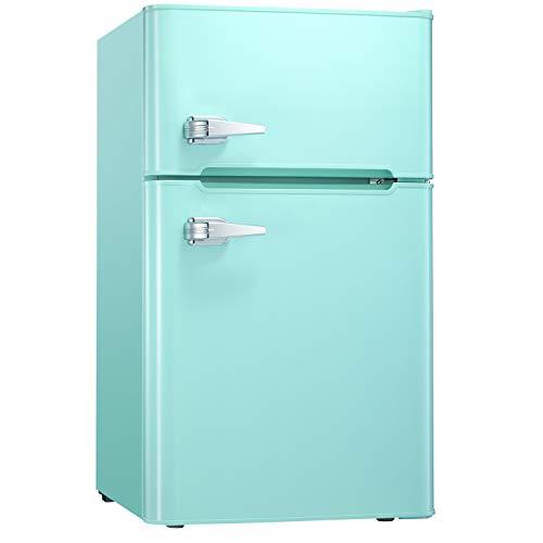 Tavata 3.2 Cu Compact Refrigerator Double Door Mini Fridge with Top Door Freezer,Small Drink Chiller for Home, Office,Dorm or RV (Green)