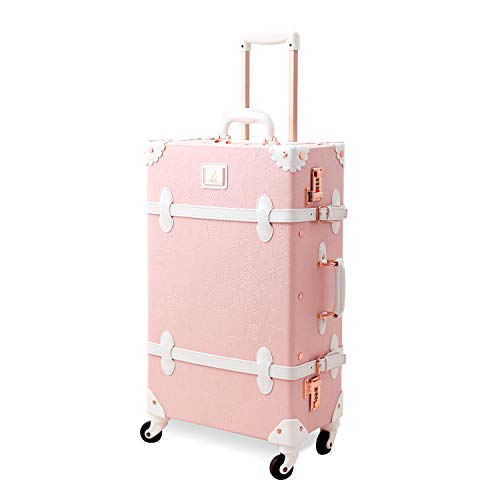 Unitravel Vintage Rolling Luggage 20 inch Retro Carry on Suitcase with Spinner Wheels (Light Pink)