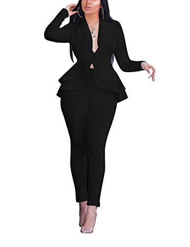2 Piece Outfits for Women Sexy Deep V Neck Long Sleeve Fashionable Ruffles Overalls Bodycon Jumpsuits Rompers