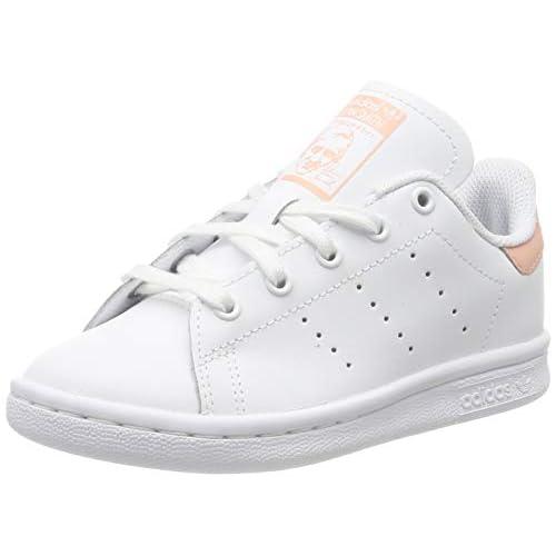 adidas Stan Smith C, Scarpe da Ginnastica Unisex Bambini, Bianco (Ftwr White/Ftwr White/Glow Pink Ftwr White/Ftwr White/Glow Pink), 35 EU