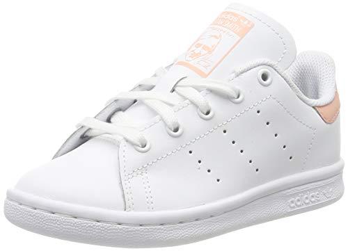 adidas Unisex-Kinder Stan Smith Sneaker, Weiß (Footwear White/Footwear White/Glow Pink 0), 30 EU