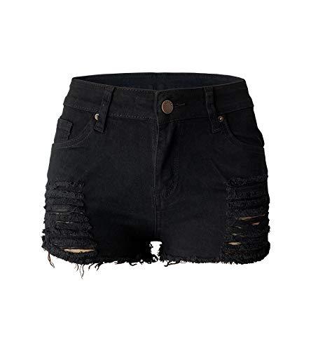 Aodrusa Womens Ripped Denim Shorts Mid Waist Sexy Short Cutoff Distressed Short Jeans Black US 10