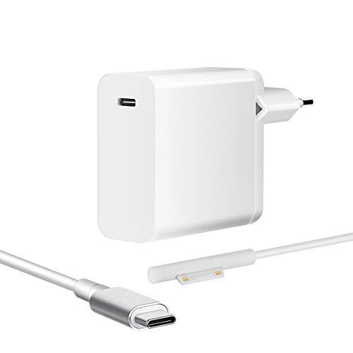 SUPERNIGHT Surface Pro Ladekabel 45W PD Ladegerät USB Typ C Kabel für Microsoft Surface Laptop Netzteil Adapter Kompatibel mit Surface Pro 3/4/5/6/7/X, Book 1/2/3 [5V/3A 9V/3A 12V/3A 15V/3A 20V/2.25A]
