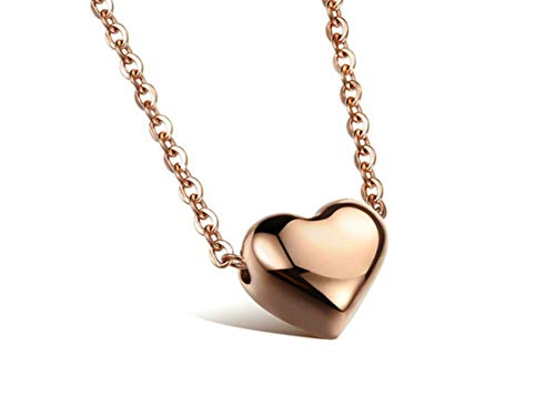 KnSam Stainless Steel Jewelry, Women Pendant Necklace, Comfort Fit Heart Rose Gold