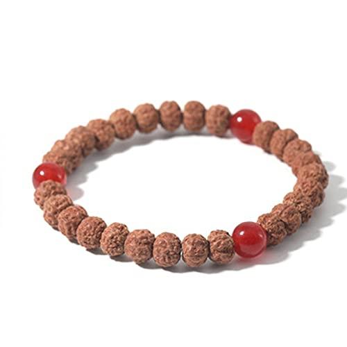 Caiyao Handmade Rudraksha Seeds Buddha Yoga Bracelet Bohemia Beaded Meditation Wrist Tibetan Bracelet Japa Prayer Mala Stretch Charm Bracelets for Women Girls Ethnic Style Jewelry-E 3 red Beads