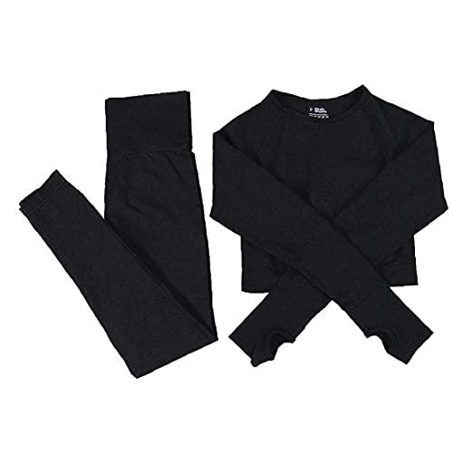 Mujeres sin Fisuras Conjunto de Yoga Fitness se Divierte los Juegos Gimnasio Ropa de Manga Larga Camisas de los Cultivos de Cintura Alta Operando Leggings Pantalones de Entrenamiento