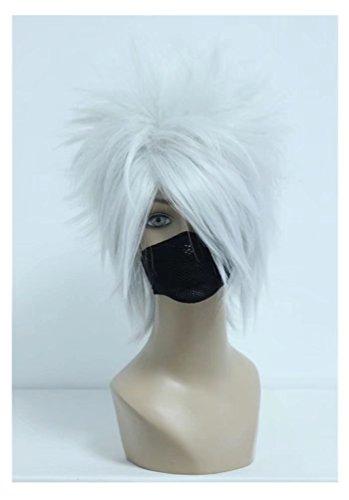 COSPLAZA Cosplay Wig Silver White Boy Male Anime Show Halloween Short Anime Full Hair