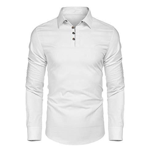 Tops para Hombre Camisetas de Manga Larga Sudadera Holgada con Botones Costura de Botones Casual Camiseta Diaria Lisa Pullover M
