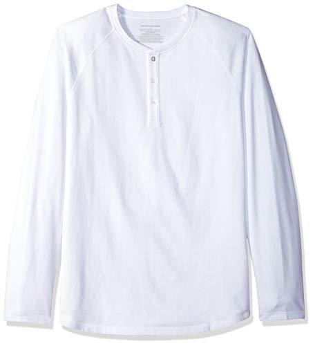 Amazon Essentials Men's Regular-Fit Long-Sleeve Henley Shirt, White, X-Large