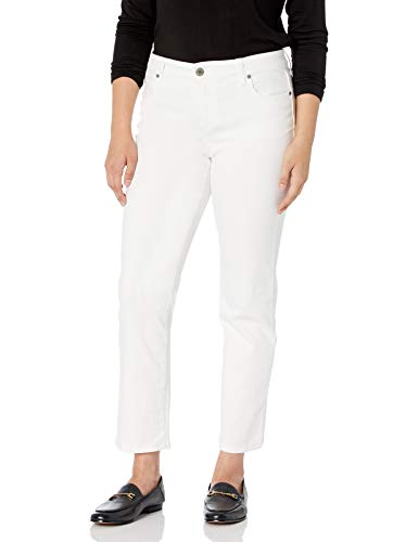 Bandolino Women's Misses Mandie Signature Fit 5 Pocket High Rise Straight Jean, White, 6 Short Length