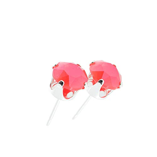 pewterhooter women's 925 Sterling silver stud earrings made with Light Coral crystal from Swarovski. Gift box. Made in the UK. Hypoallergenic & Nickle Free for Sensitive Ears.
