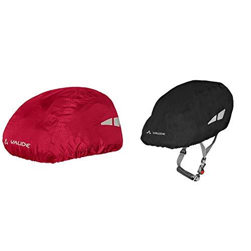 VAUDE Helmet Raincover Helmschutz, Indian Red, One Size & Helmregenüberzug Helmet Raincover, Schwarz, One Size, 04300