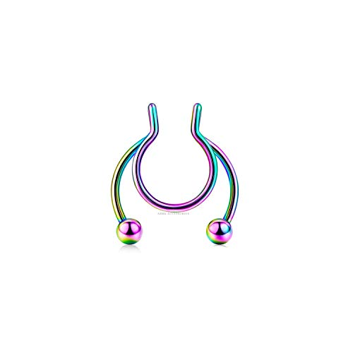 Multicolour Fake Clip On Nose Ring Hanger Hoop Septum Non Piercing Body Jewellery
